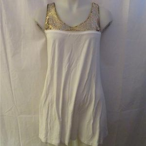LAROK WHITE SLEEVELESS TUNIC TOP GOLD SEQUINS M